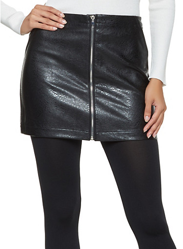 Faux Leather Zip Mini Skirt,BLACK,large