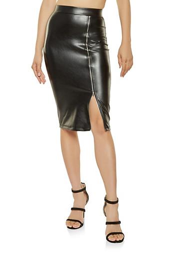 Zip Up Faux Leather Pencil Skirt,BLACK,large
