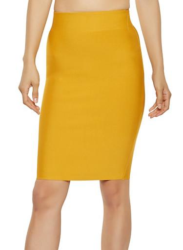 Bandage Pencil Skirt,MUSTARD,large