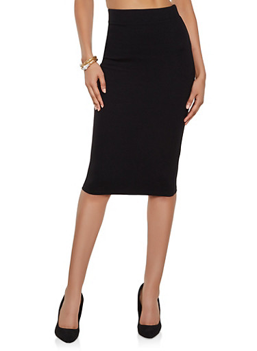 Solid Ponte Midi Pencil Skirt,BLACK,large