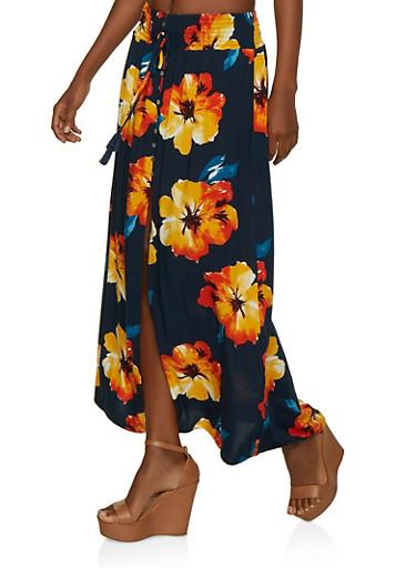 Smocked Waist Floral Maxi Skirt,NAVY,large