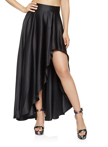 Pleated High Low Maxi Skirt,BLACK,large