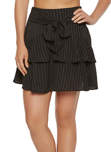 Ruffled Pinstripe Mini Skirt,BLACK/WHITE,large