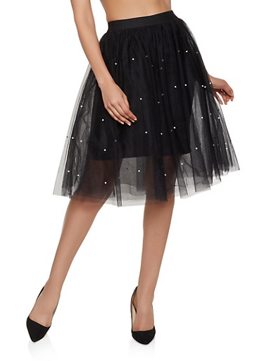 Faux Pearl Studded Tulle Skirt,BLACK,large