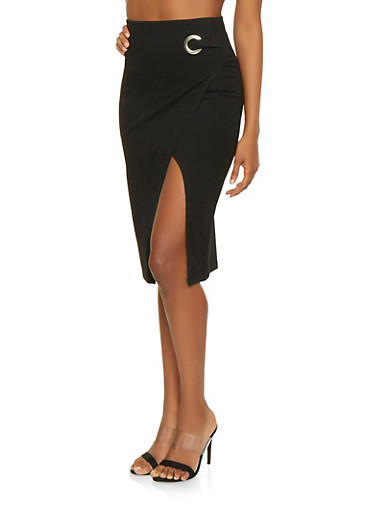Faux Wrap Ponte Pencil Skirt,BLACK,large