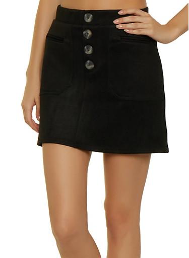 Faux Suede Button Mini Skirt,BLACK,large
