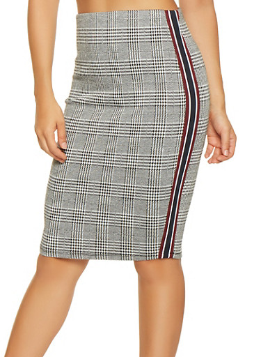 Plaid Striped Tape Pencil Skirt,BLACK/WHITE,large