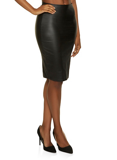 Coated Midi Pencil Skirt,BLACK,large