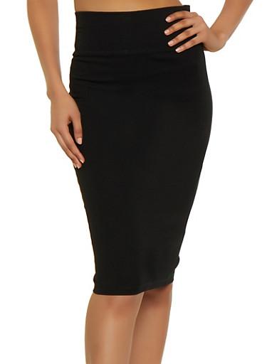 Ponte Pencil Skirt,BLACK,large