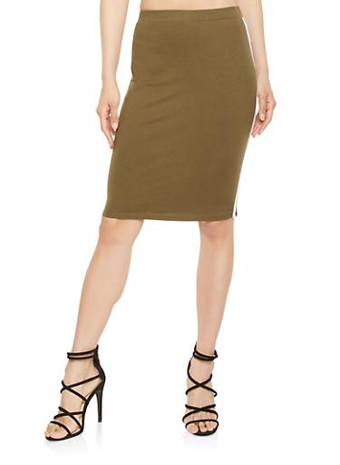 Varsity Stripe Pencil Skirt,OLIVE,large