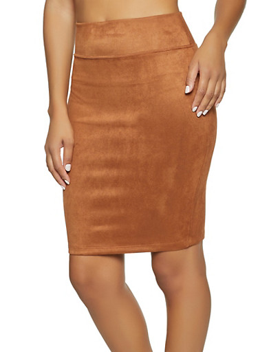 Faux Suede Pencil Skirt,BROWN,large