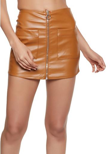 Zip Front Faux Leather Mini Skort - 3406069393019