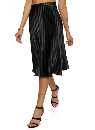 Satin Pleated Midi Skirt,BLACK,large