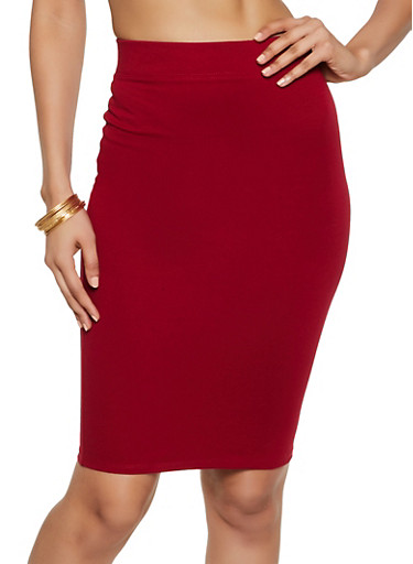 Solid Ponte Pencil Skirt,RED,large