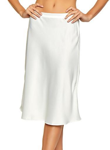 Mid Length Satin Skater Skirt,IVORY,large