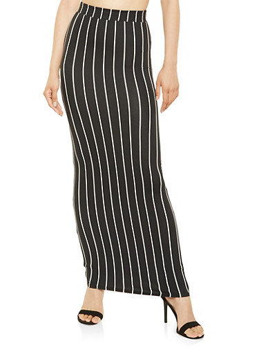 Striped Maxi Skirt,BLACK,large