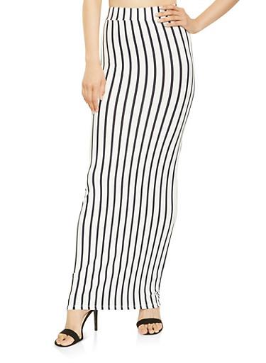 Striped Maxi Skirt,IVORY,large