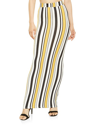 Striped Maxi Skirt,BLACK,large