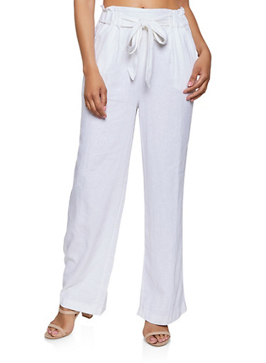 Tie Front Linen Palazzo Pants,WHITE,large