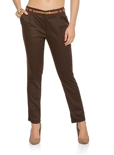 Solid Belted Pants,BROWN,large
