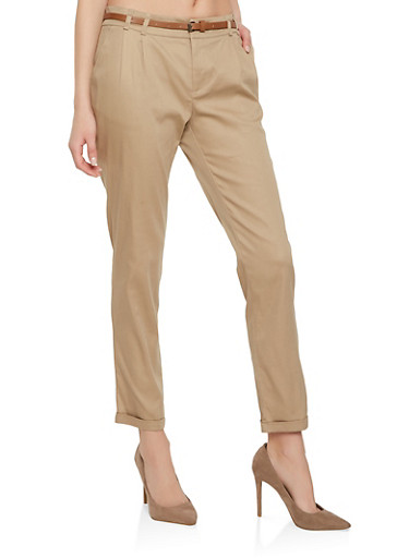 Solid Belted Pants | Tuggl