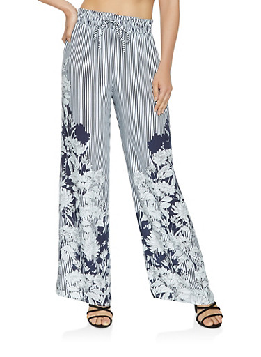 Floral Striped Palazzo Pants,NAVY,large