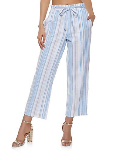 Tie Waist Striped Linen Pants,BLUE,large