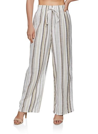 Striped Linen Wide Leg Pants,KHAKI,large
