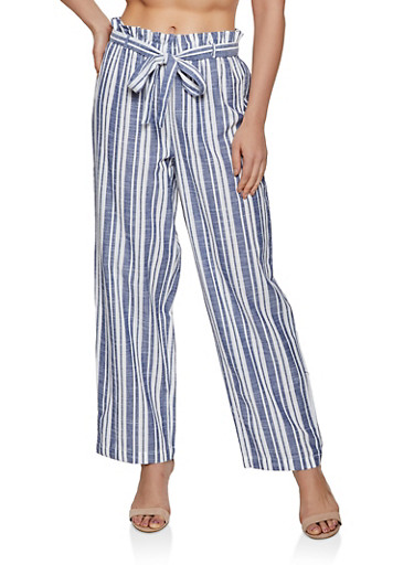 Linen Striped Palazzo Pants,NAVY,large