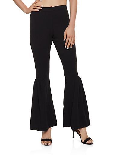 Crepe Knit Flared Pull On Pants,BLACK,large