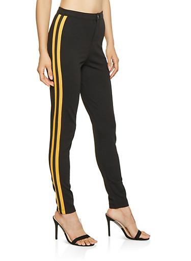 Striped Trim Ponte Pants,BLACK,large