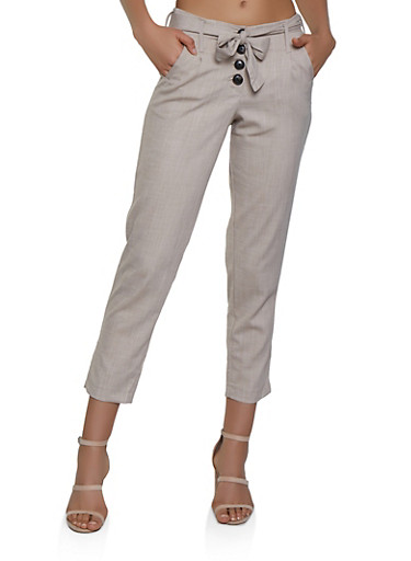 Belted Button Front Pants,OATMEAL,large
