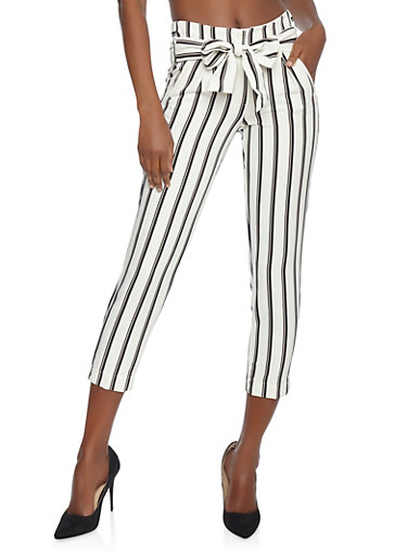 Striped Tie Front Dress Pants,WHT-BLK,large