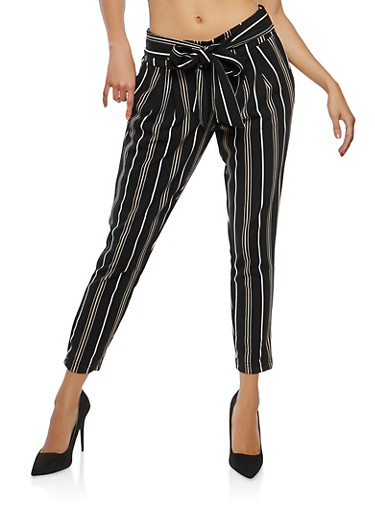 Striped Tie Front Pants,BLACK,large