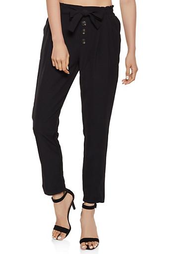 Tie Front Button Detail Dress Pants,BLACK,large