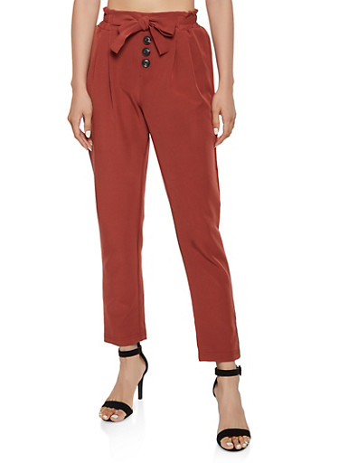 Tie Front Button Detail Dress Pants by Rainbow