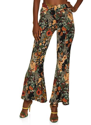 Floral Flared Dress Pants,BLACK,large