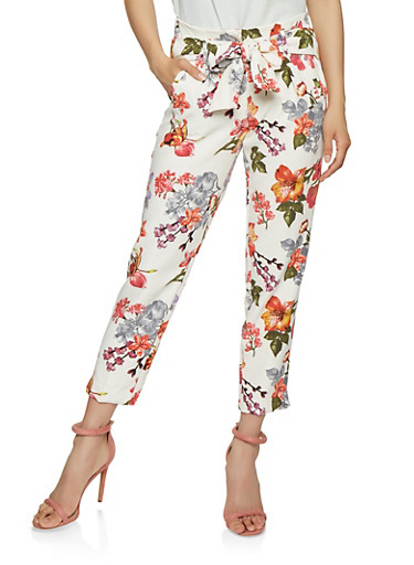Floral Tie Front Pants,WHITE,large