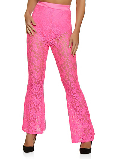 Flared Lace Pants,NEON PINK,large