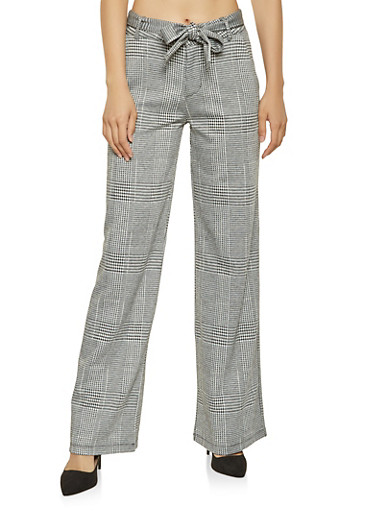 Tie Waist Plaid Pants,BLACK/WHITE,large