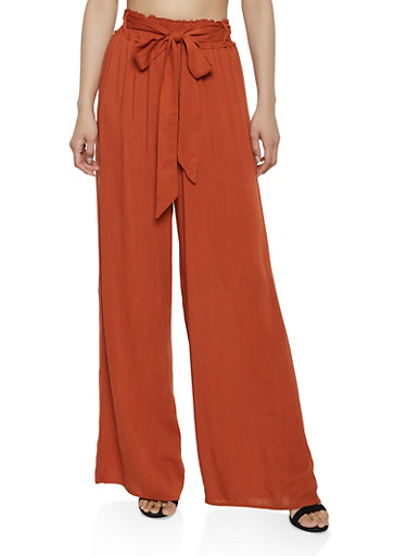Solid Wide Leg Palazzo Pants,TAN,large