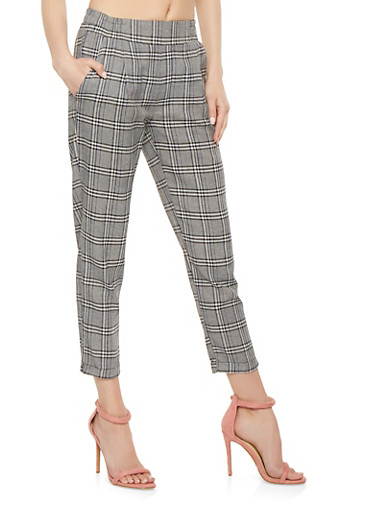 Plaid Trousers,KHAKI,large