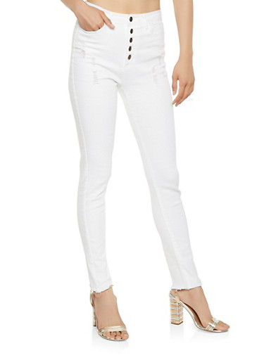 Frayed High Waisted Skinny Jeans,WHITE,large