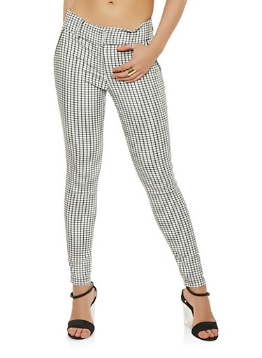 Checkered Dress Pants,WHITE,large