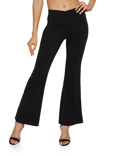 Pintuck Flared Stretch Pants,BLACK,large