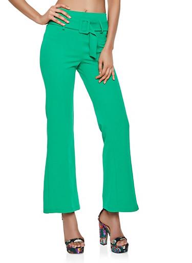 Crepe Knit Belted Dress Pants,GREEN,large