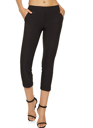 Fixed Cuff Dress Pants,BLACK,large