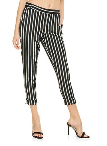 Striped Pull On Dress Pants,BLACK/WHITE,large
