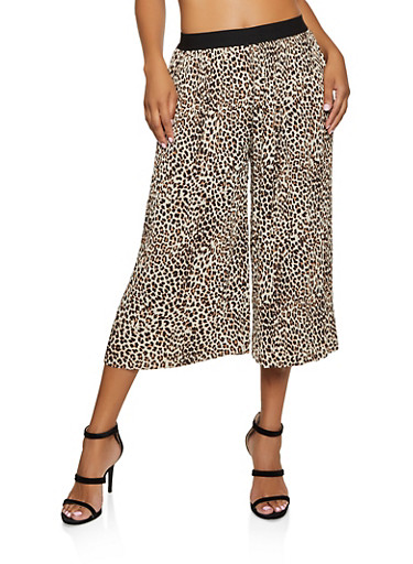 Leopard Pleated Gaucho Pants,BROWN,large