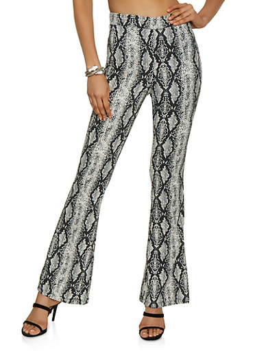 Snake Print Crepe Knit Flared Pants,BLACK/WHITE,large